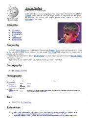 justin bieber biography worksheet english worksheets discover the pastperfect with justin
