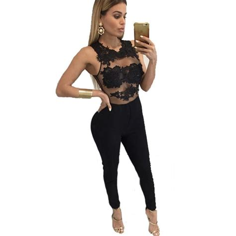 Sheer Lace Jumpsuit sheer floral lace top jumpsuit addicted2fashion
