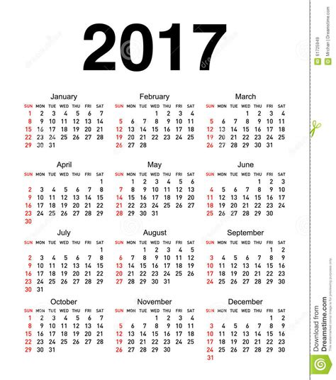 Calendar C E Calendar For 2017 Stock Vector Image 61725949