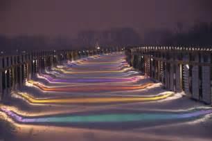 Des Moines Ia Snow Covered Gray S Lake Foot Bridge 1