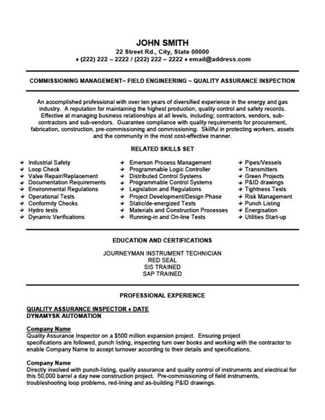 Quality Assurance Inspector Resume Template by Sle Resume For And Gas Company Choice Image