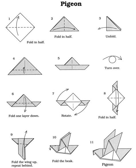 Simple Origami Dove - vouwen origami vogel dover publications lesmateriaal