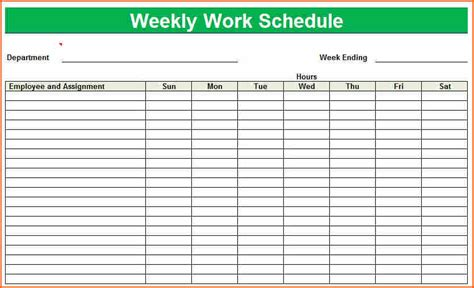 6 weekly work schedule template excel budget template