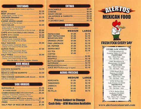 food menu alertos mexican food menu menu for alertos mexican food