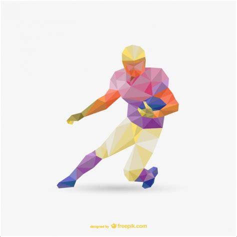 Origami Football Player - polygonal american football player vector free