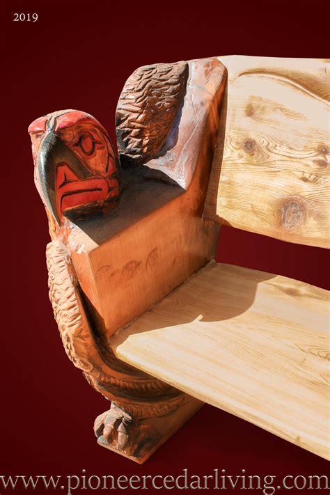 cedar log bench pioneer cedar living western red cedar log bench with spirit eagle carvings