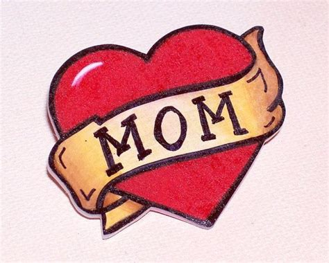 mom heart and banner tattoo badge pin back by artallnight