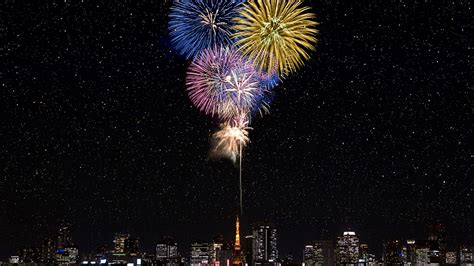fireworks  tokyo tower windows  hd wallpaper preview
