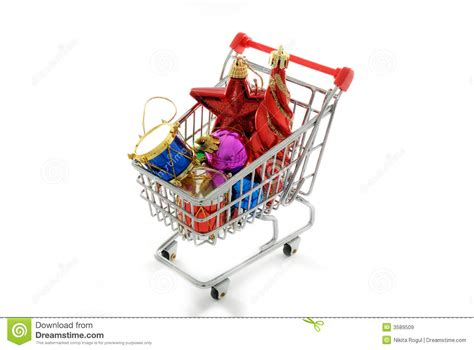 Shopping Cart Ornament - cristmas ornaments shopping royalty free stock images