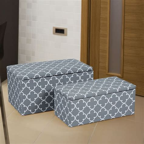Storage Ottoman Fabric Adeco 2 Fabric Quartrefoil Storage Ottoman Bench Ft0066