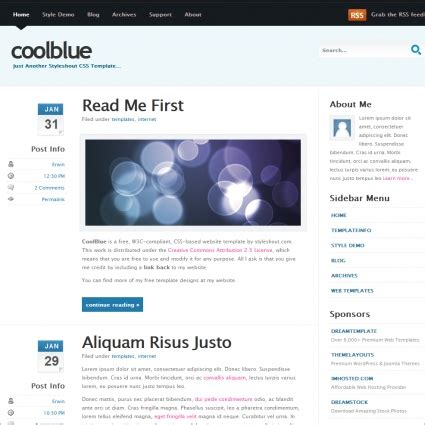 free cool website templates cool blue v1 0 template free website templates in css