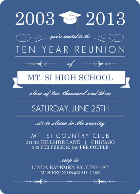 free templates for class reunion invitations blue banner class reunion invitation 10 year class