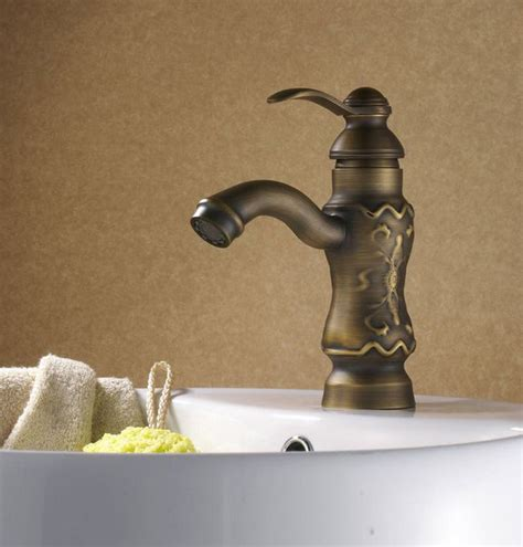 luxury sculpture antique brass bathroom faucet