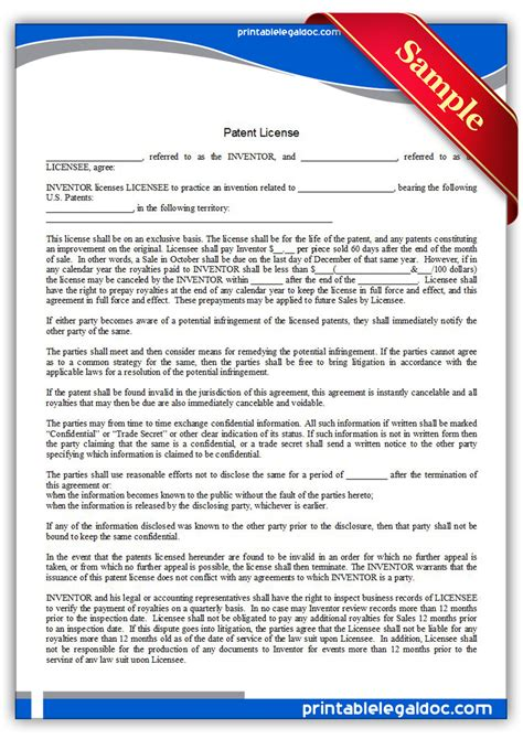 Free Printable Patent License Form Generic Patent License Agreement Template