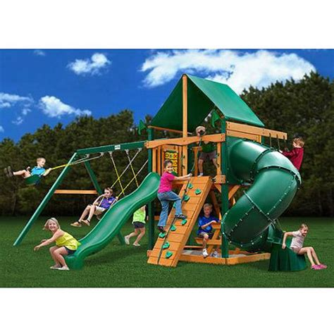 gorilla wooden swing sets gorilla playsets mountaineer deluxe cedar wooden swing set