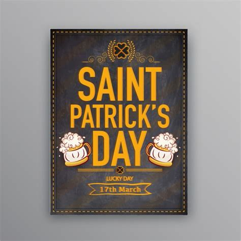 vintage st template vintage flyer template with beers for st s day