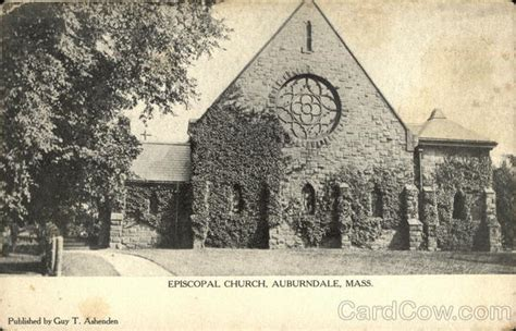 Auburndale Post Office by Episcopal Church Auburndale Ma Postcard