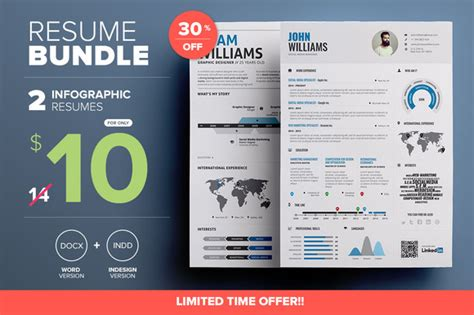 Infographic Resume Template Docx Free Creativemarket Infographic Resume Mini Bundle 306554 Other Templates