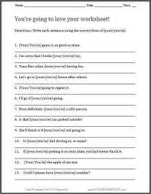 your you re worksheet free printable for ela student