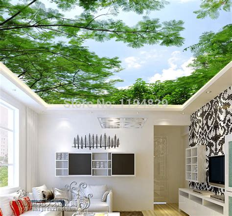 Wallpaper For Living Room India by 3d Nature Green Tree Blue Sky Ceiling Wallpaper Tv Sitting