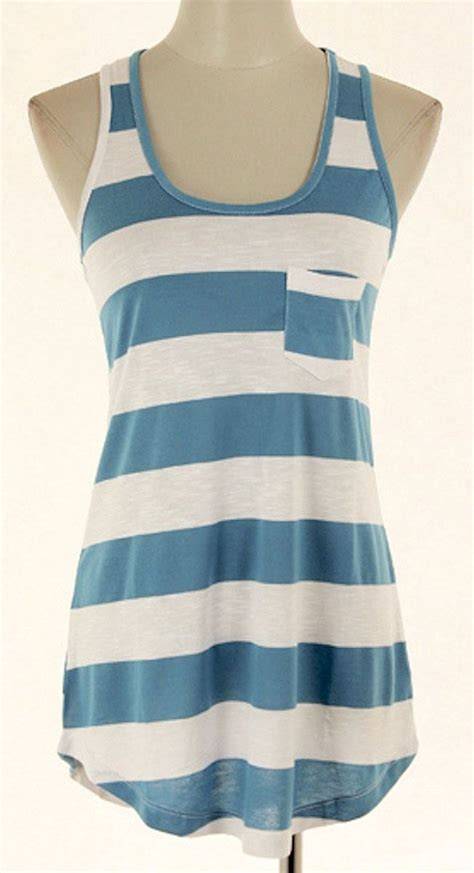 Blue Stripe Sleeveless Top blue white stripe sleeveless top casual wear