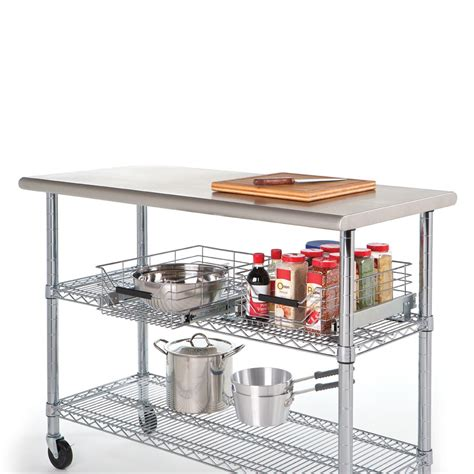commercial kitchen islands commercial stainless steel kitchen island worktable utility storage cart wheels ebay