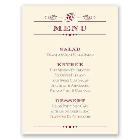 Wedding Invitation Menu Cards by Vintage Type Menu Card Invitations By