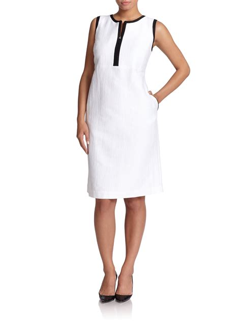 43798 White Trim Dress lyst marina rinaldi contrast trim shift dress in white