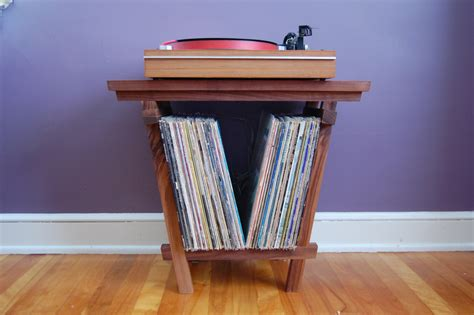 Record Player Tables by Beautiful Solid Walnut Record Player Table And Lp Holder For