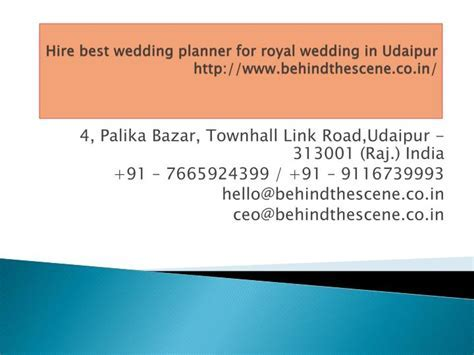 PPT   Hire best wedding planner for royal wedding in