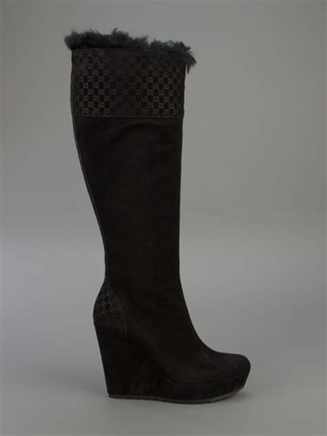 gucci wedge boots in black lyst
