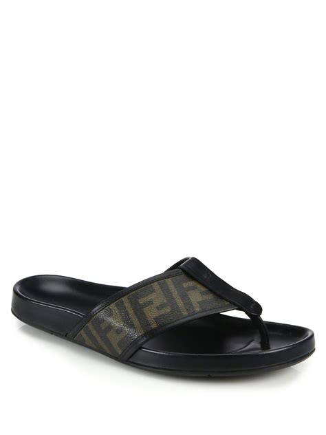fendi sandals mens fendi zucca sandals in black for lyst