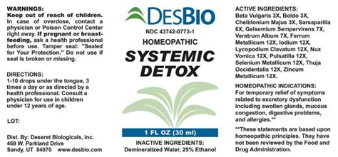 Selenium Detox Symptoms by Dailymed Systemic Detox Beta Vulgaris Boldo