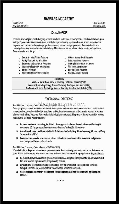 exles of resumes resume social 28 images social worker resume sle career guide the