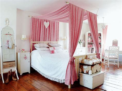 pink canopy bed inspired by interior design country cottage style the