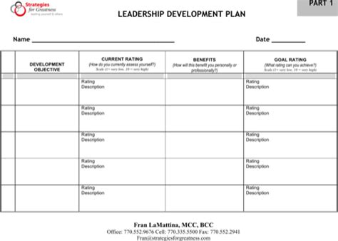 Download Development Plan Templates For Free Formtemplate Leadership Development Plan Template Sle