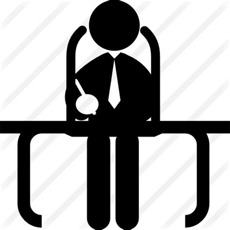 Businessman Sitting On His Office Desk Free Business Icons Office Desk Icon
