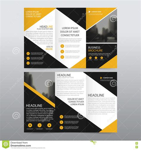 yellow black triangle business trifold leaflet brochure