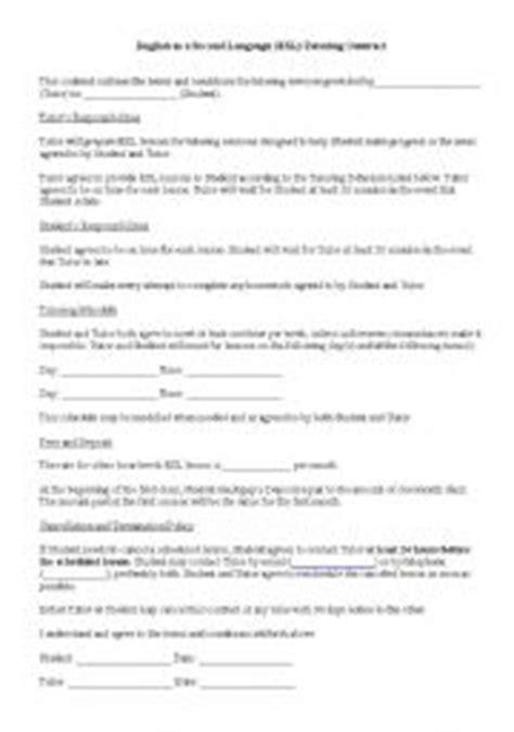 english worksheets esl tutoring contract