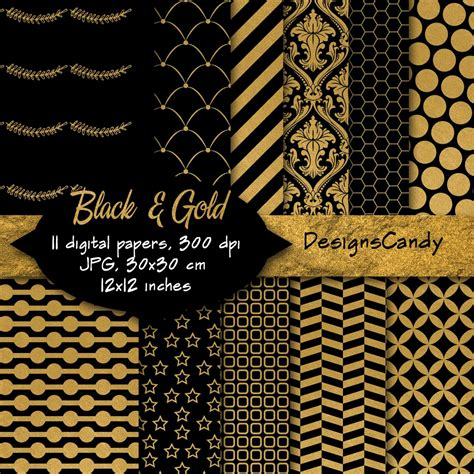 gold printable paper uk black gold patterns digital background scrapbook paper
