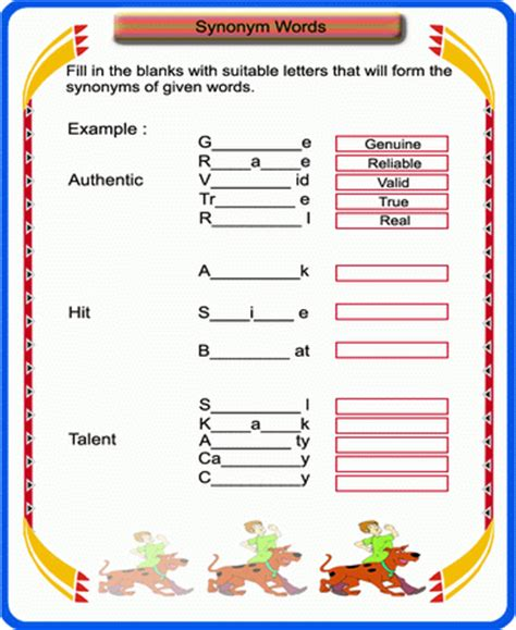color synonyms free printable synonym worksheets for kindergarten 1000