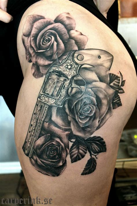 guns and roses thigh tattoo gun and roses thigh tattoos pictures to pin on