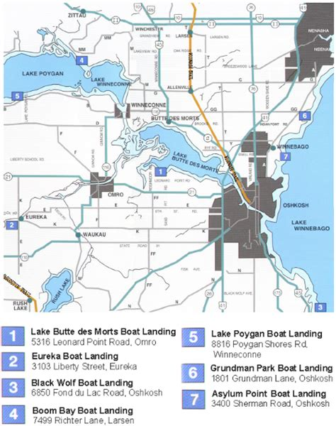 boat landing lake poygan locations winnebago county