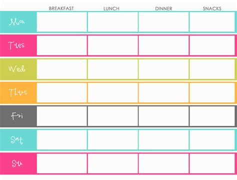 printable meal planner with snacks free menu to be printed lunch snacks menu and lunches
