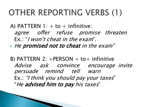 verb pattern persuade reported speech and reporting verbs