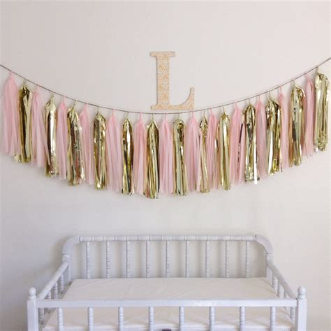 blush pink and gold tassel garland