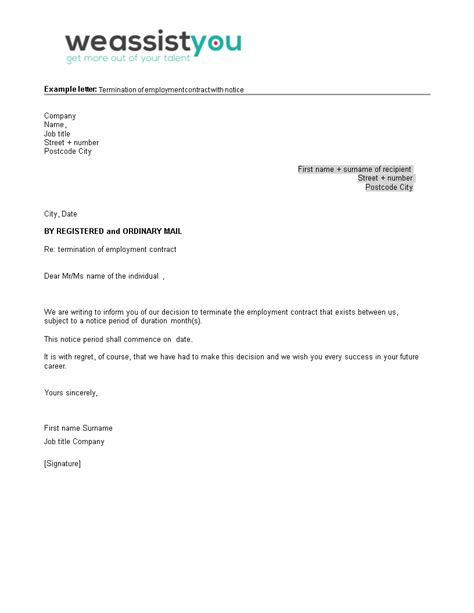 employment contract termination letter notice