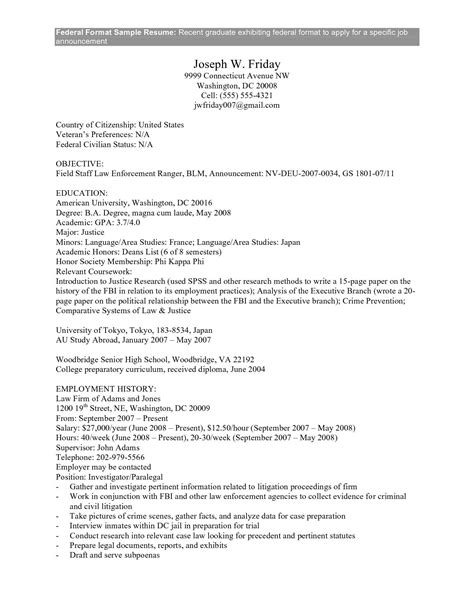 Government Resume by Federal Government Resume Exle Federal Government