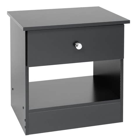 Black Nightstand With Drawers Prepac Black Sonoma One Drawer Black Stand 3361