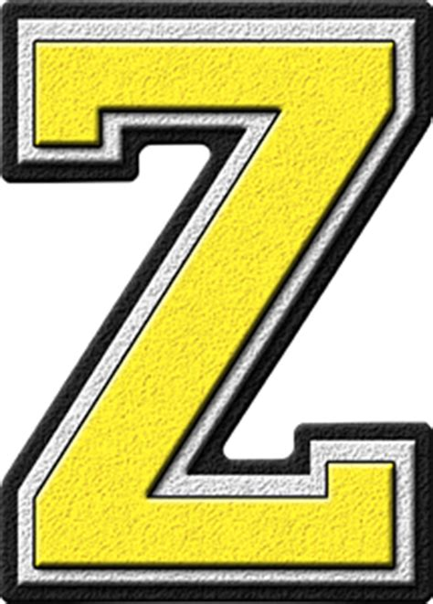 College With Letter Z Presentation Alphabets Yellow Varsity Letter Z